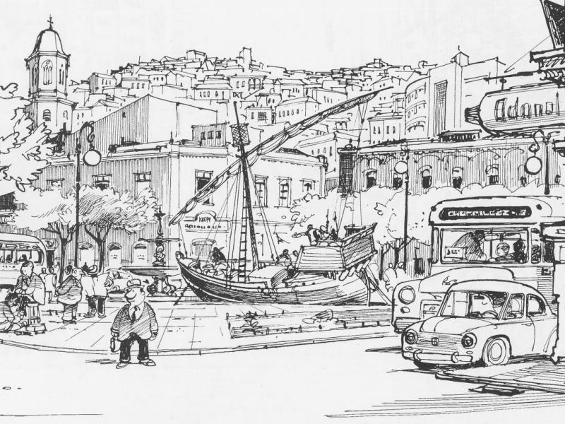 El puerto dibujado por Lukas - Chile Para Niños